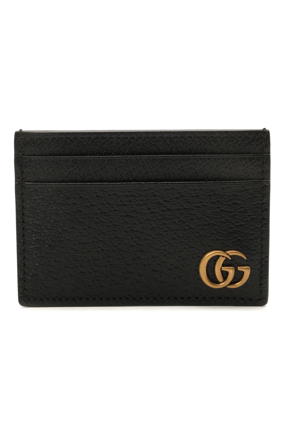 Мужской кожаный футляр для кредитных карт GUCCI черного цвета, арт. 436022/DJ20T | Фото 1
