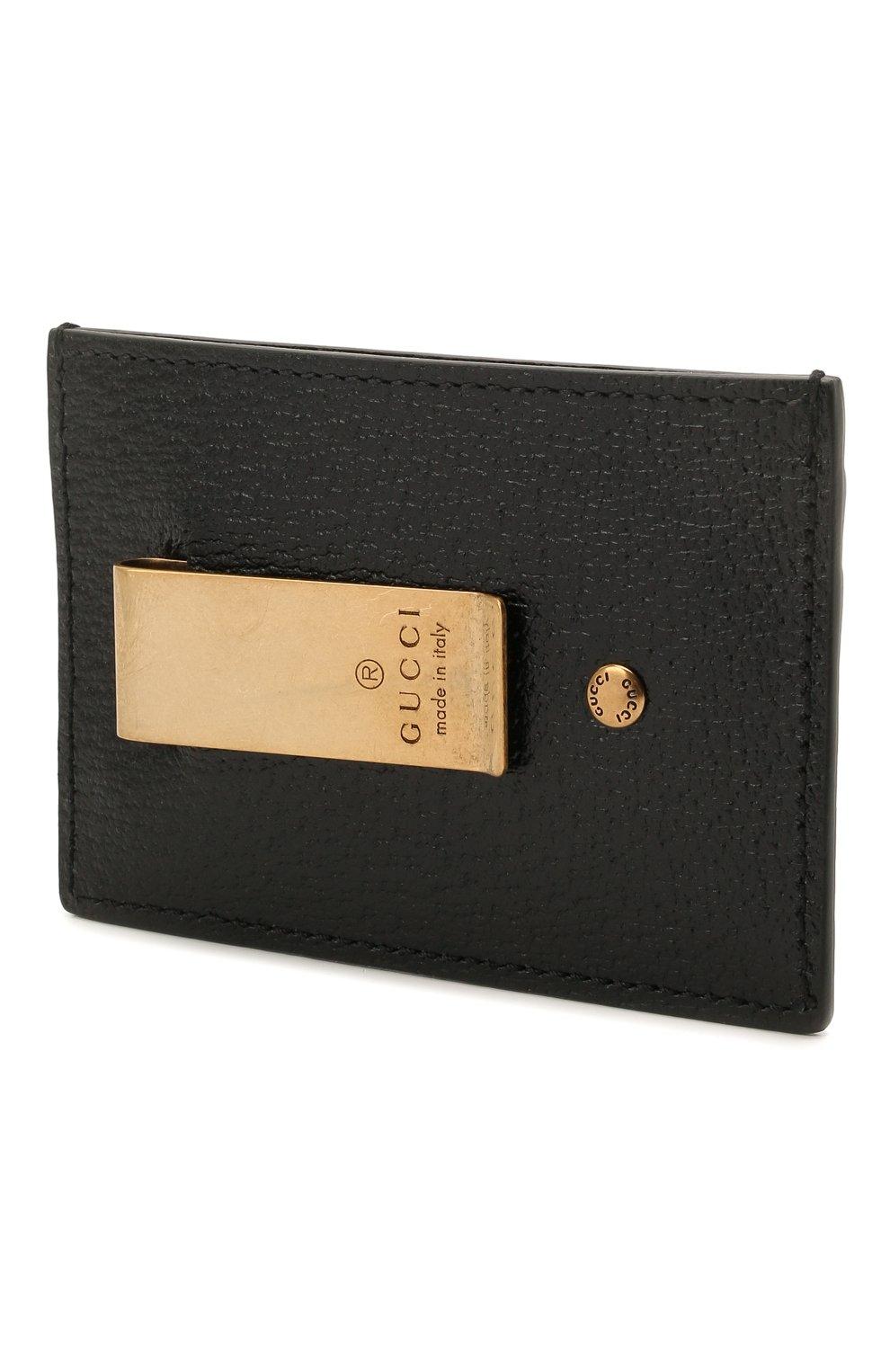 Мужской кожаный футляр для кредитных карт GUCCI черного цвета, арт. 436022/DJ20T | Фото 2
