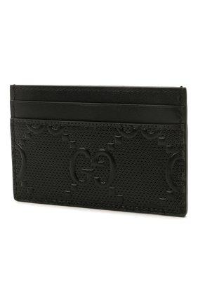 Мужской кожаный футляр для кредитных карт GUCCI черного цвета, арт. 625564/1W3AN | Фото 2