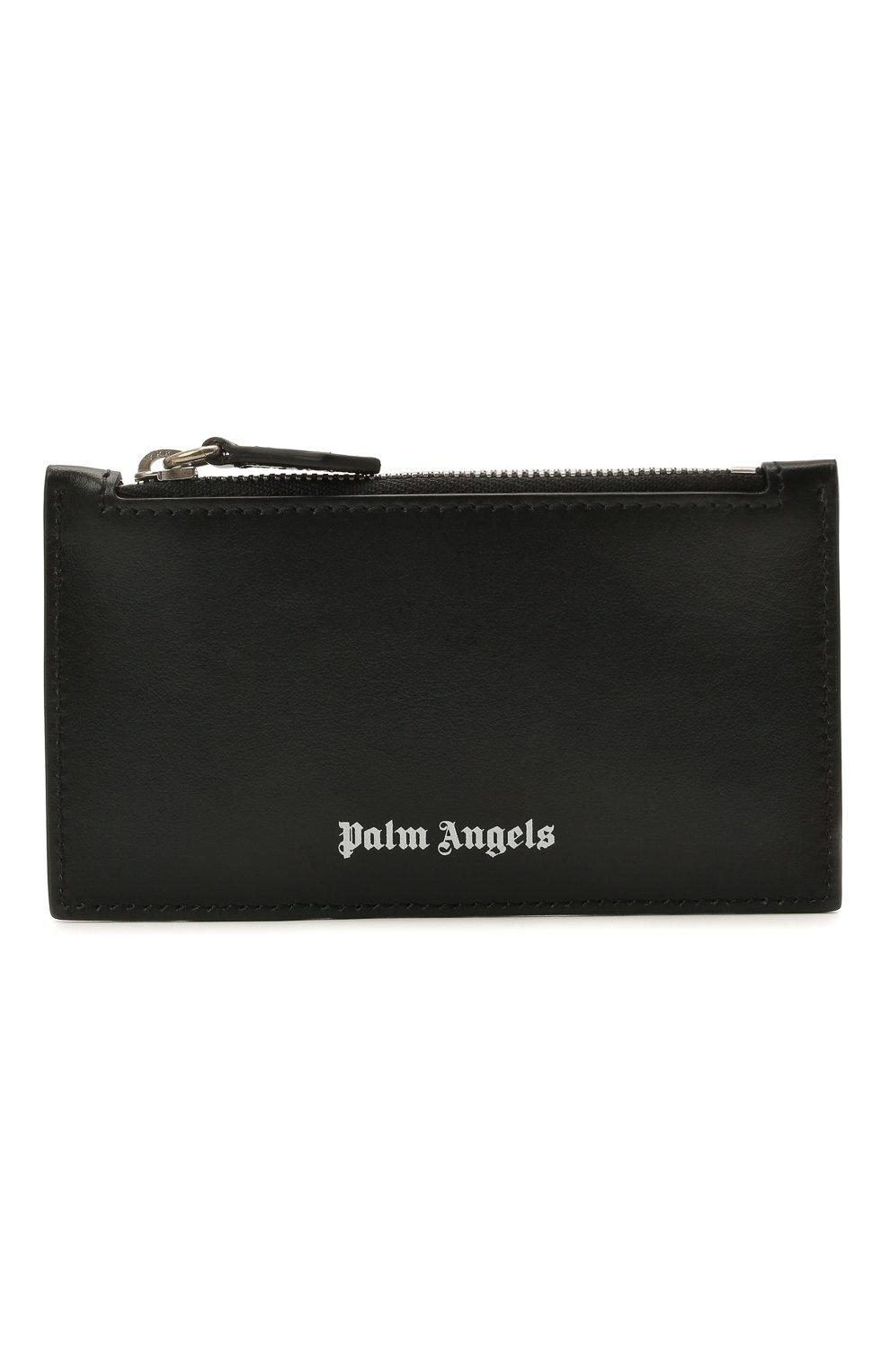 Мужской кожаный кошелек для монет PALM ANGELS черно-белого цвета, арт. PMNC016S21FAB0011001 | Фото 1