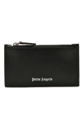 Мужской кожаный футляр для кредитных карт PALM ANGELS черного цвета, арт. PMNC016S21FAB0011001 | Фото 1