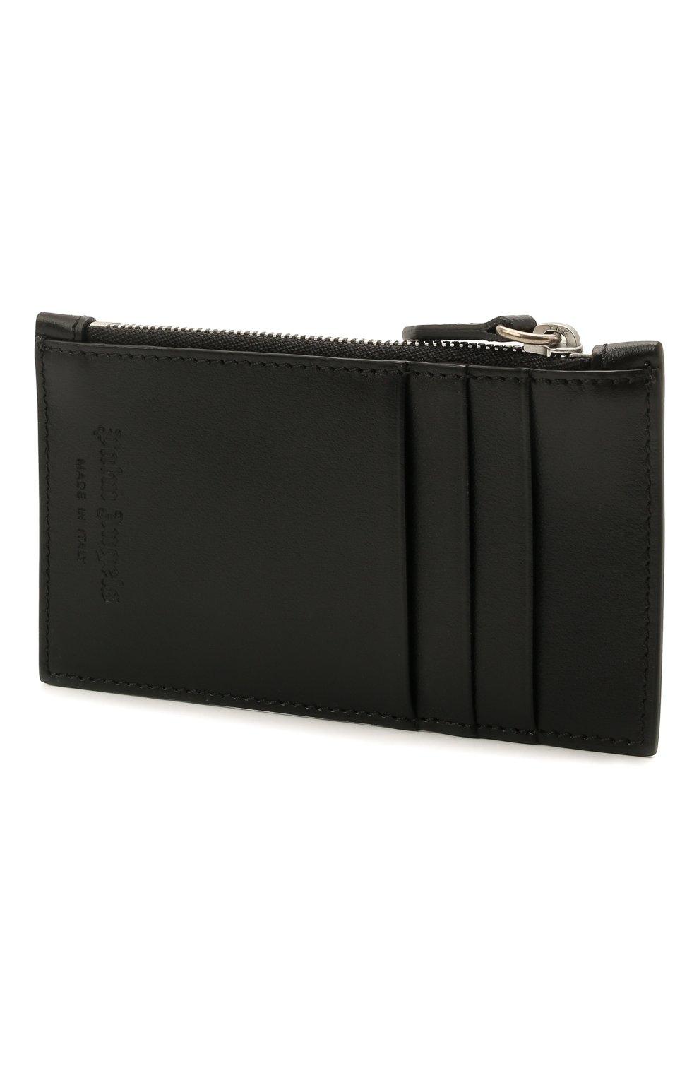 Мужской кожаный кошелек для монет PALM ANGELS черно-белого цвета, арт. PMNC016S21FAB0011001 | Фото 2