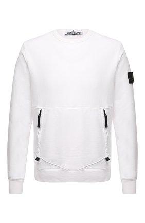 Мужской хлопковый свитшот STONE ISLAND белого цвета, арт. 741563451 | Фото 1