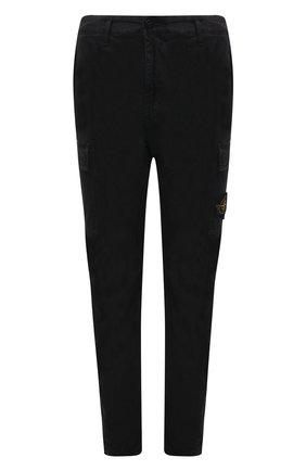 Мужские хлопковые брюки-карго STONE ISLAND черного цвета, арт. 741530504 | Фото 1