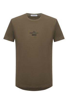Мужская хлопковая футболка STONE ISLAND хаки цвета, арт. 74152NS91 | Фото 1