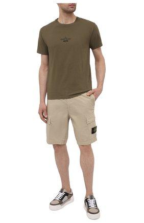 Мужская хлопковая футболка STONE ISLAND хаки цвета, арт. 74152NS91 | Фото 2