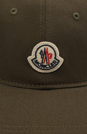 Мужской хлопковая бейсболка MONCLER хаки цвета, арт. G1-091-3B707-00-V0090 | Фото 3