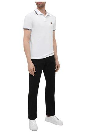 Мужское хлопковое поло MONCLER белого цвета, арт. G1-091-8A706-00-84556 | Фото 2