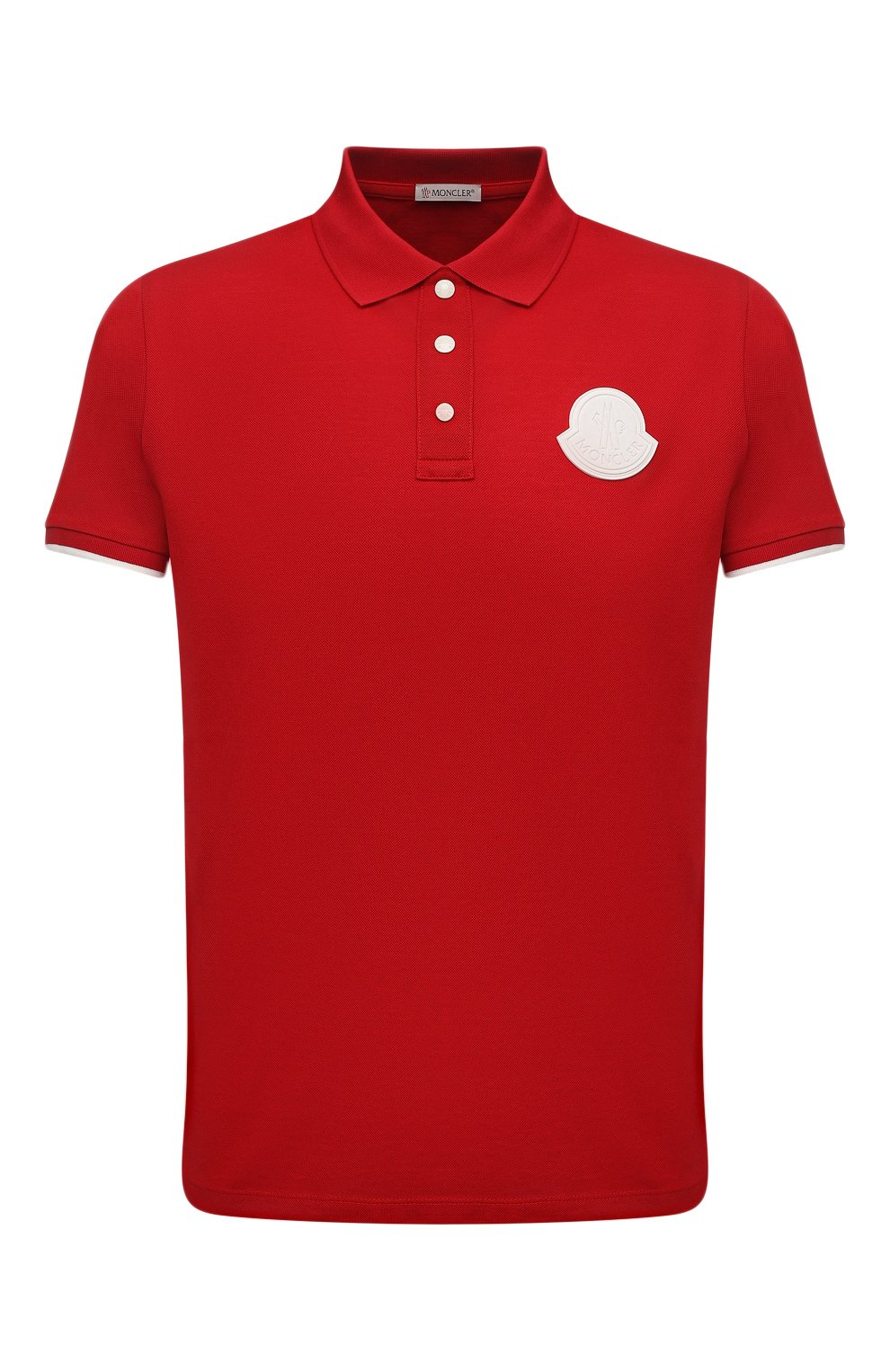 Мужское хлопковое поло MONCLER красного цвета, арт. G1-091-8A724-00-84673 | Фото 1 (Застежка: Пуговицы; Рукава: Короткие; Длина (для топов): Стандартные; Материал внешний: Хлопок; Стили: Кэжуэл)