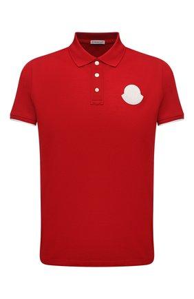 Мужское хлопковое поло MONCLER красного цвета, арт. G1-091-8A724-00-84673 | Фото 1