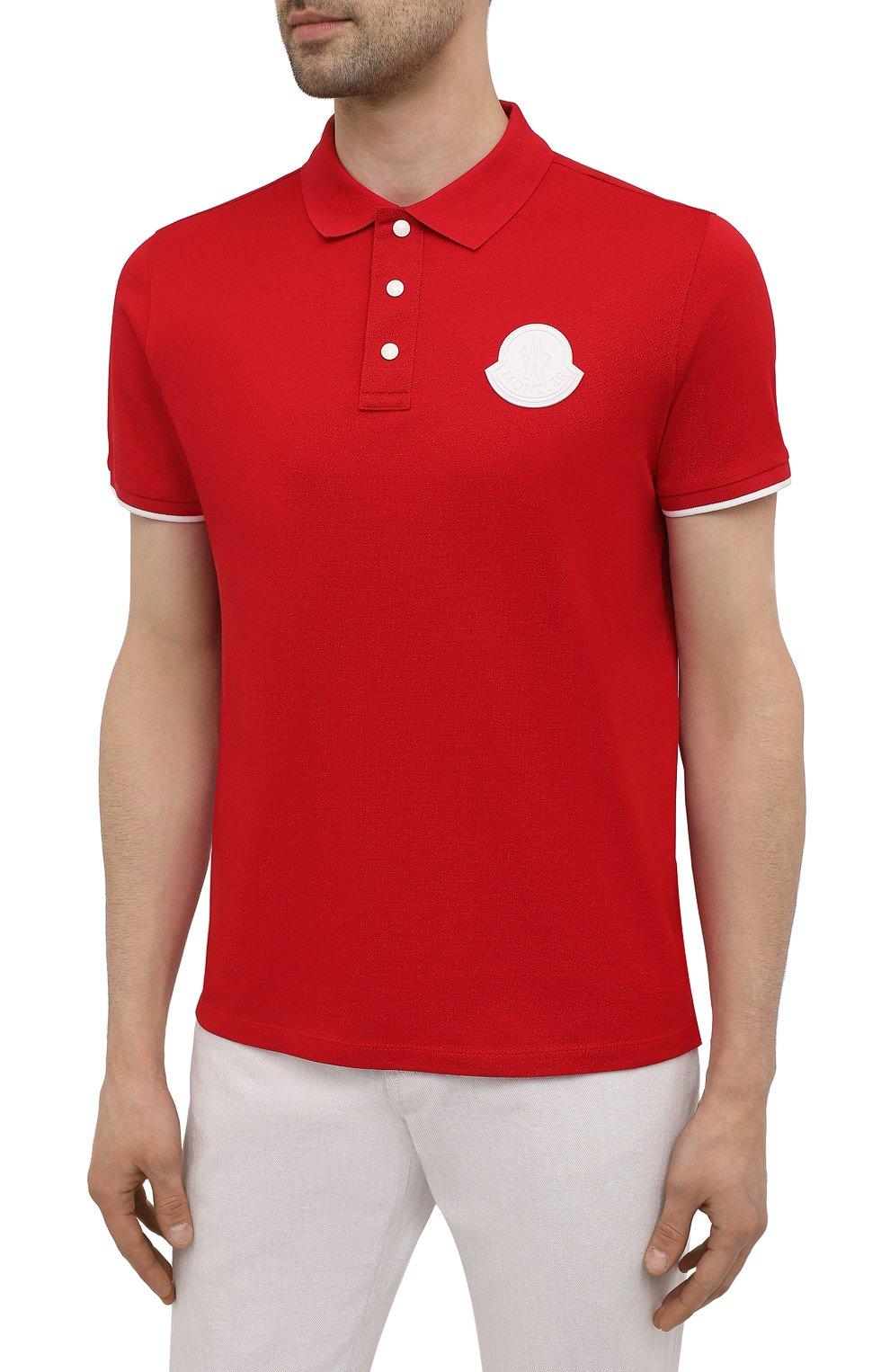 Мужское хлопковое поло MONCLER красного цвета, арт. G1-091-8A724-00-84673 | Фото 3 (Застежка: Пуговицы; Рукава: Короткие; Длина (для топов): Стандартные; Материал внешний: Хлопок; Стили: Кэжуэл)
