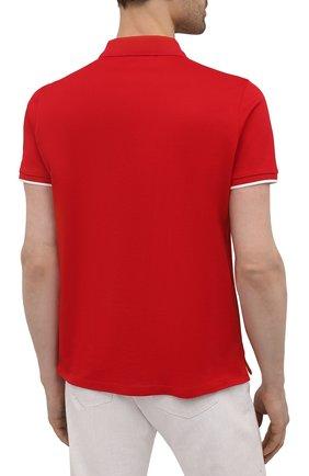Мужское хлопковое поло MONCLER красного цвета, арт. G1-091-8A724-00-84673 | Фото 4 (Застежка: Пуговицы; Рукава: Короткие; Длина (для топов): Стандартные; Материал внешний: Хлопок; Стили: Кэжуэл)