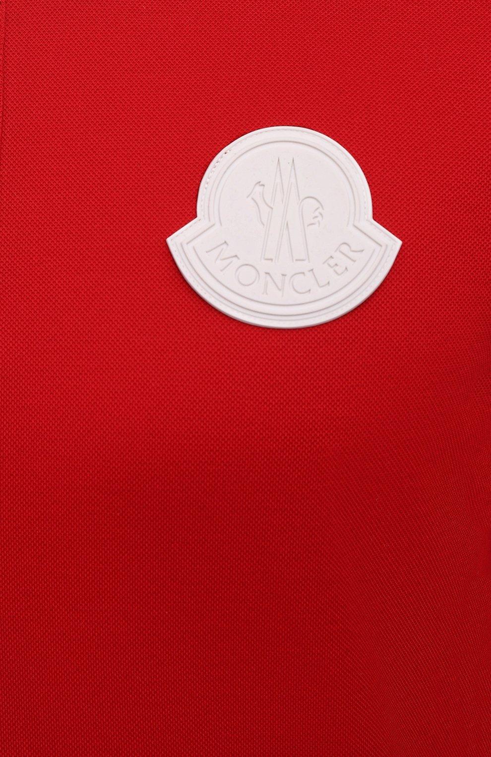 Мужское хлопковое поло MONCLER красного цвета, арт. G1-091-8A724-00-84673 | Фото 5 (Застежка: Пуговицы; Рукава: Короткие; Длина (для топов): Стандартные; Материал внешний: Хлопок; Стили: Кэжуэл)