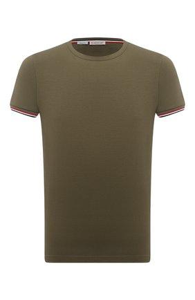 Мужская хлопковая футболка MONCLER хаки цвета, арт. G1-091-8C716-00-87296 | Фото 1