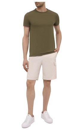 Мужская хлопковая футболка MONCLER хаки цвета, арт. G1-091-8C716-00-87296 | Фото 2