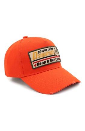 Мужской хлопковая бейсболка DSQUARED2 оранжевого цвета, арт. BCM0402 05C00001 | Фото 1