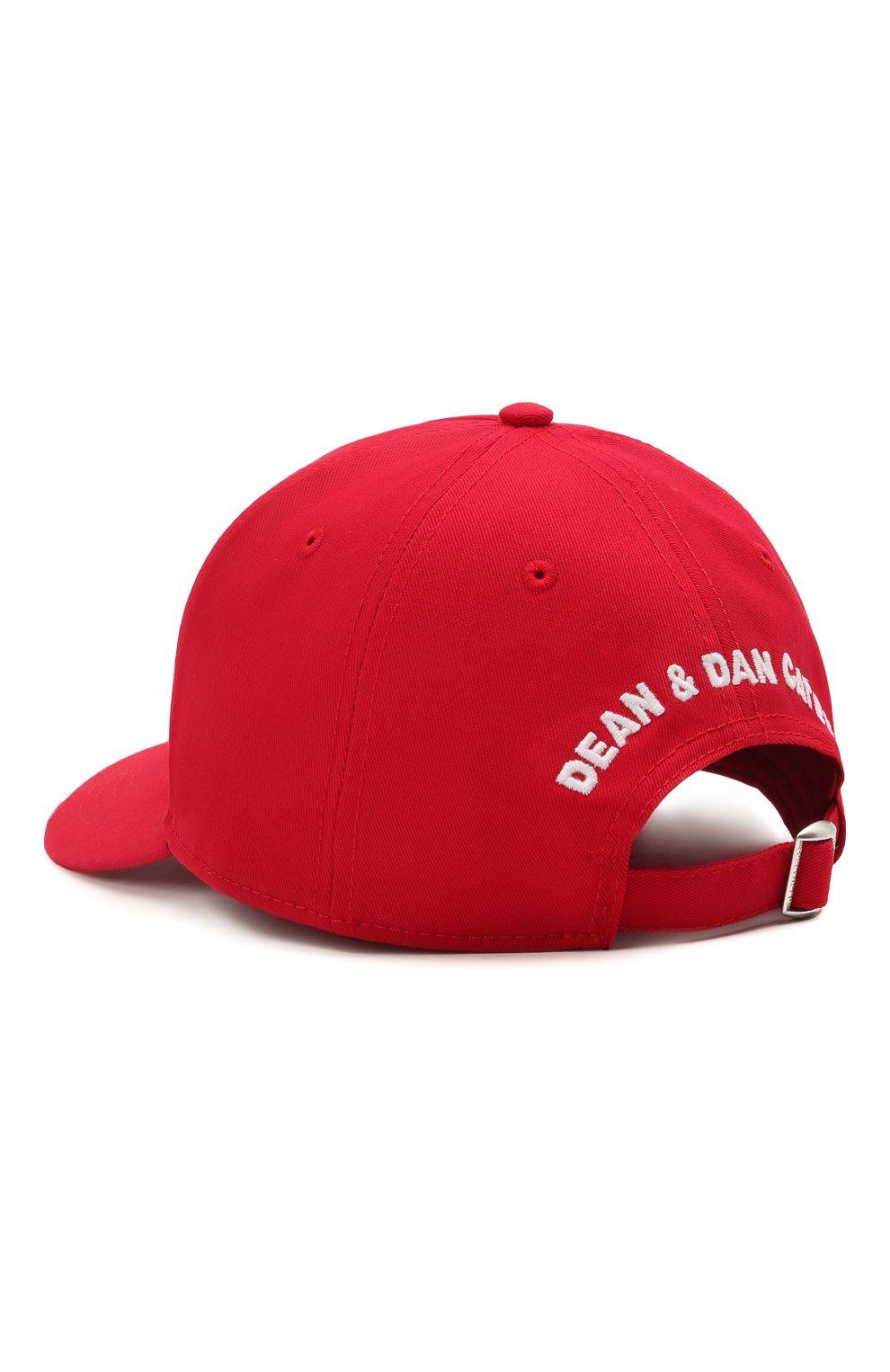 Мужской хлопковая бейсболка DSQUARED2 красного цвета, арт. BCM0406 05C00001 | Фото 2