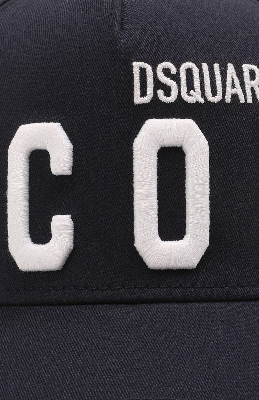 Мужской хлопковая бейсболка DSQUARED2 темно-синего цвета, арт. BCM0412 05C00001 | Фото 3