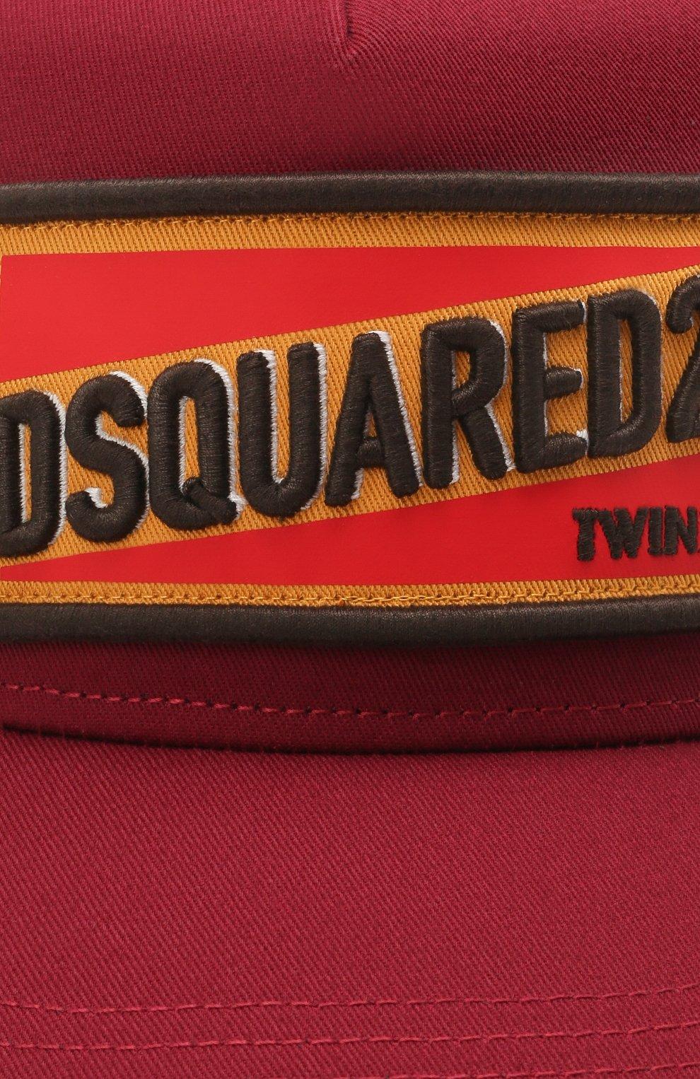 Мужской хлопковая бейсболка DSQUARED2 бордового цвета, арт. BCM0419 05C00001 | Фото 3