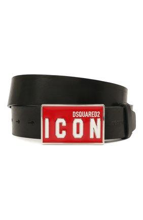 Мужской кожаный ремень DSQUARED2 черного цвета, арт. BEM0326 12900001 | Фото 1