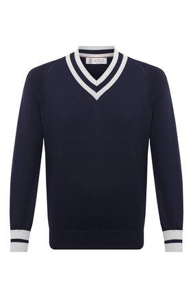 Мужской хлопковый пуловер BRUNELLO CUCINELLI синего цвета, арт. M2917902 | Фото 1 (Длина (для топов): Стандартные; Материал внешний: Хлопок; Рукава: Длинные; Стили: Кэжуэл; Мужское Кросс-КТ: Пуловеры; Принт: Без принта; Вырез: V-образный)