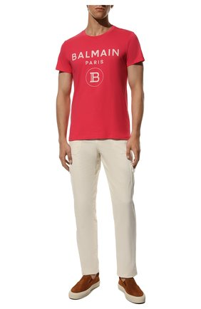 Мужская хлопковая футболка BALMAIN розового цвета, арт. VH0EF000/B080 | Фото 2