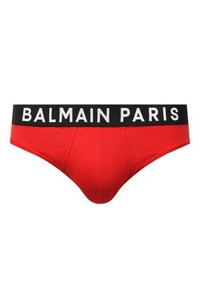 Мужские хлопковые брифы BALMAIN красного цвета, арт. BRL615180 | Фото 1