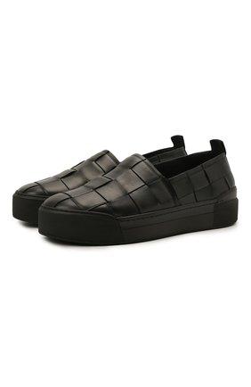 Мужские кожаные слипоны VIC MATIE черного цвета, арт. 1Z5888U.V02X080101 | Фото 1 (Материал внутренний: Натуральная кожа; Стили: Кэжуэл)
