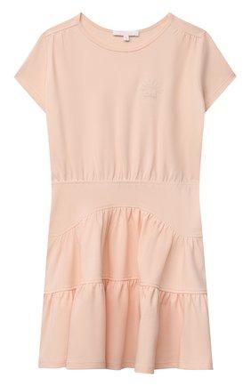 Детское хлопковое платье CHLOÉ светло-розового цвета, арт. C12813 | Фото 1