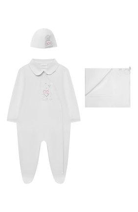 Детский комплект из трех предметов LA PERLA белого цвета, арт. 48364 | Фото 1