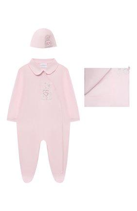 Детский комплект из трех предметов LA PERLA розового цвета, арт. 48364 | Фото 1