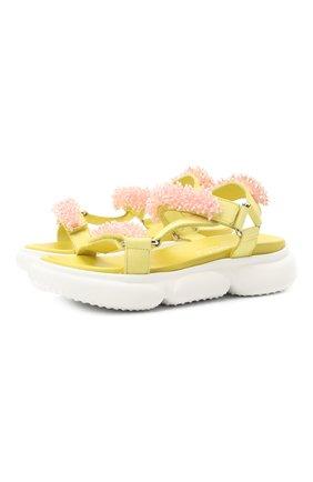 Детские кожаные босоножки JARRETT желтого цвета, арт. J3SA243B/M0RBID0NE/35-40 | Фото 1