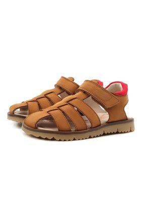 Детские кожаные сандалии JARRETT коричневого цвета, арт. JE2SA11A/NABUCK/24-27 | Фото 1