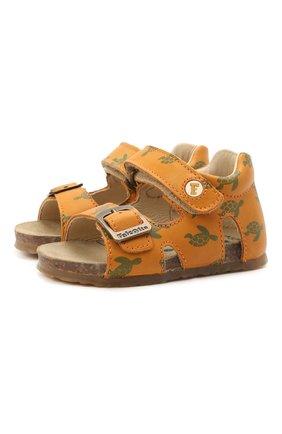 Детские кожаные сандалии FALCOTTO коричневого цвета, арт. 0011500737/38 | Фото 1