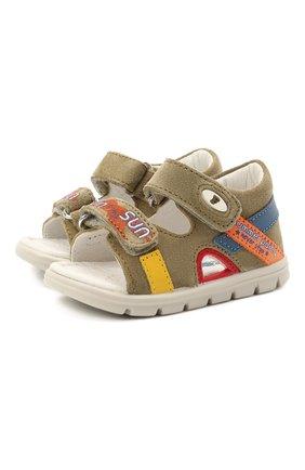 Детские кожаные сандалии FALCOTTO хаки цвета, арт. 0011500893/01 | Фото 1