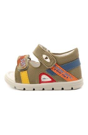 Детские кожаные сандалии FALCOTTO хаки цвета, арт. 0011500893/01 | Фото 2