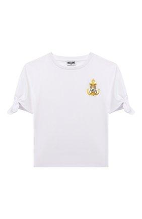 Детская хлопковая футболка MOSCHINO белого цвета, арт. HDM03N/LBA10/4A-8A | Фото 1