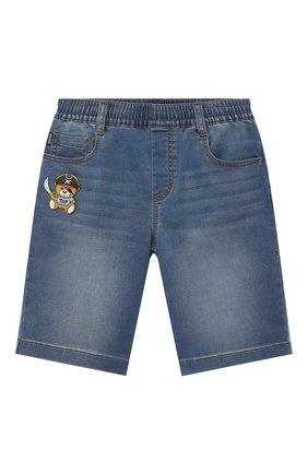 Детские джинсовые шорты MOSCHINO синего цвета, арт. HUQ00F/LDE03/4A-8A   Фото 1