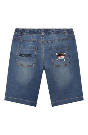 Детские джинсовые шорты MOSCHINO синего цвета, арт. HUQ00F/LDE03/4A-8A   Фото 2