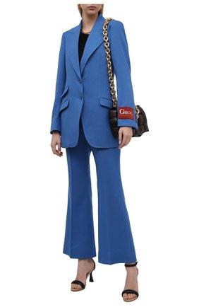 Женские шерстяные брюки GUCCI синего цвета, арт. 616539/ZAF6I | Фото 2