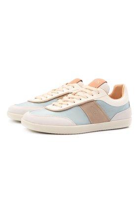 Женские комбинированные кроссовки TOD'S светло-голубого цвета, арт. XXW68C0DP30Q7G | Фото 1