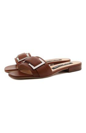 Женские кожаные шлепанцы SERGIO ROSSI коричневого цвета, арт. A94190-MNAN07 | Фото 1