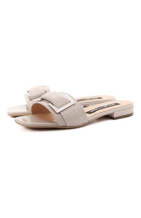 Женские кожаные шлепанцы SERGIO ROSSI светло-серого цвета, арт. A94190-MVIV01 | Фото 1