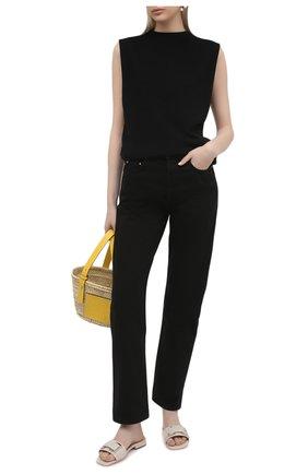 Женские кожаные шлепанцы SERGIO ROSSI светло-серого цвета, арт. A94190-MVIV01 | Фото 2