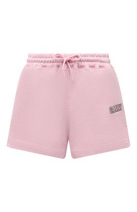 Женские хлопковые шорты GANNI светло-розового цвета, арт. T2924 | Фото 1