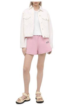 Женские хлопковые шорты GANNI светло-розового цвета, арт. T2924 | Фото 2