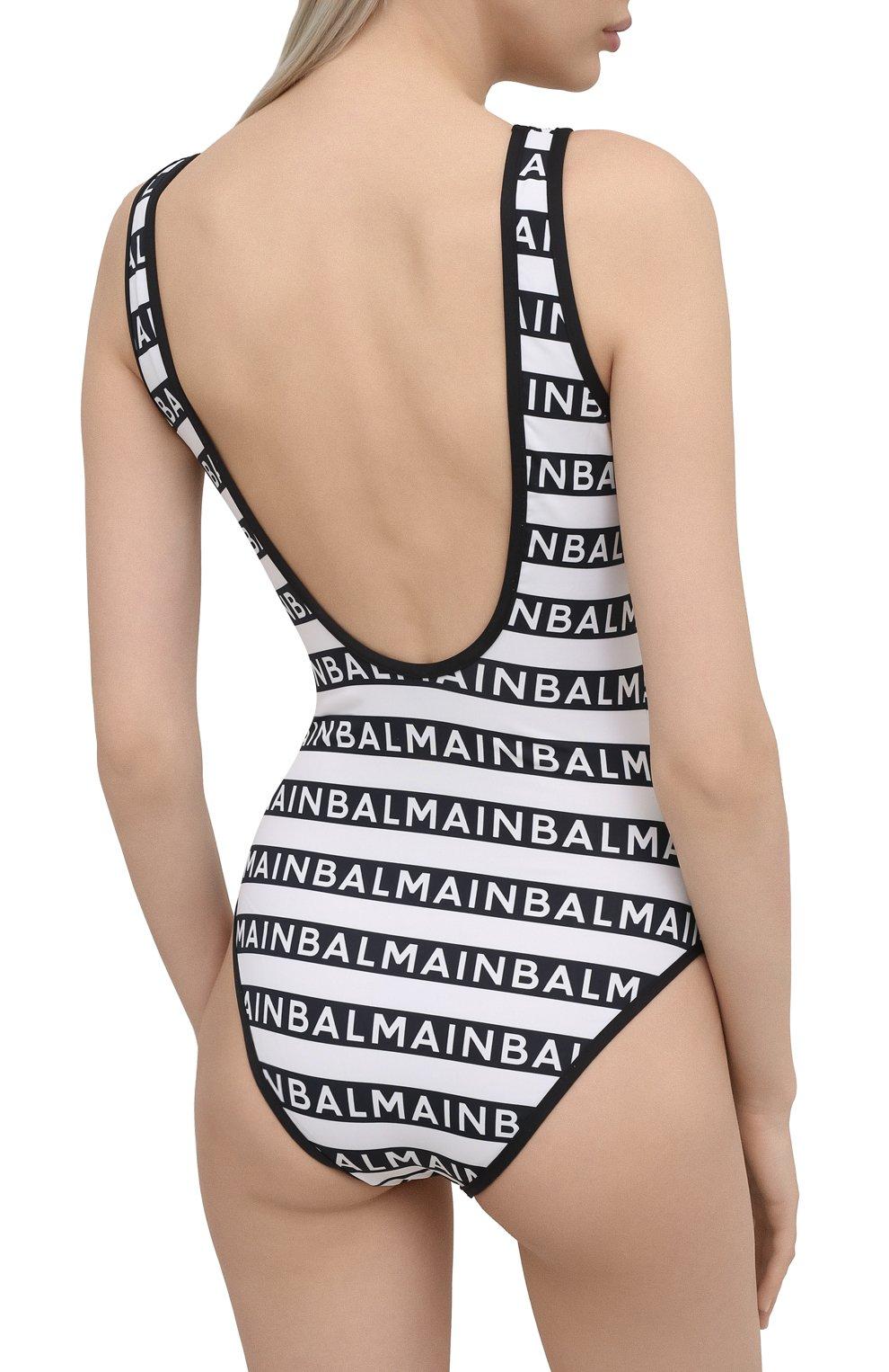 Женский слитный купальник BALMAIN черно-белого цвета, арт. BKBU00220   Фото 3