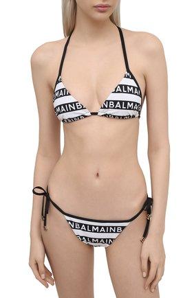 Женский раздельный купальник BALMAIN черно-белого цвета, арт. BKB810220 | Фото 2