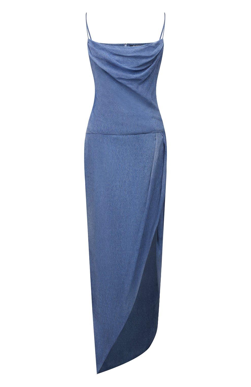 Женское шелковое платье BALMAIN синего цвета, арт. VF0RN040/I667 | Фото 1