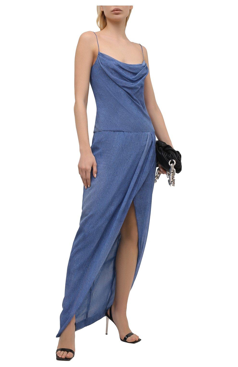 Женское шелковое платье BALMAIN синего цвета, арт. VF0RN040/I667 | Фото 2
